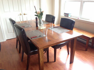 Mango Wood Dining Room Table & Chair Set with Bench