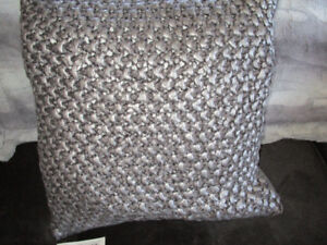 2 Silver Metallic Throw Cushions with feather inserts