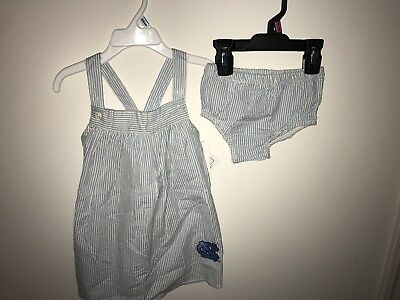 Unc Apparel (NWT Sara Lynn Togs UNC Toddler 2T Seersucker Dress & Bloomer Set)