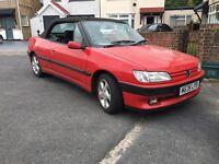 Peugeot 306 Convertible, red summer fun. Brand new MOT, battery exhaust.