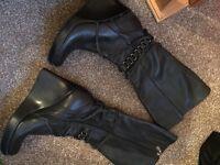 Faith Black leather knee high boots