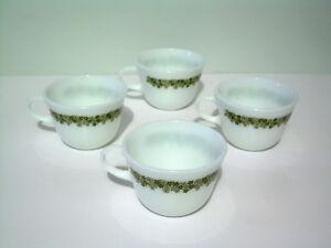 Vintage Spring Blossom/Crazy Daisy Pyrex Mugs & Cups - Green