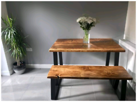 Bespoke rustic dining tables and benches made from reclaimed timber