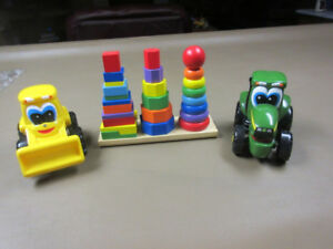 Melissa & Doug Geometric Stacker & TWO Puzzle Play Tractor Toys