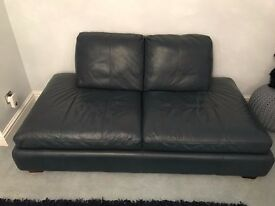 Blue Contemporary Leather 2 Seater & Chair