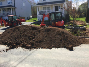 Post holes, trenches, retaining walls, soil leveling sod removal