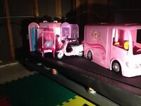 Barbie buss, and motorcycle,P and P house