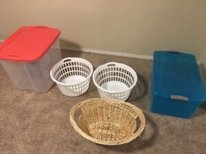 Laundry basket and storage bins CAN DELIVER
