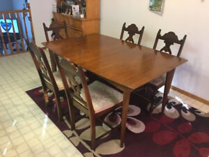 Five Edwardian Style Mahogany Chairs and Kitchen Table