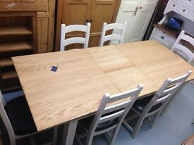 Oak top dining table with painted pine frame