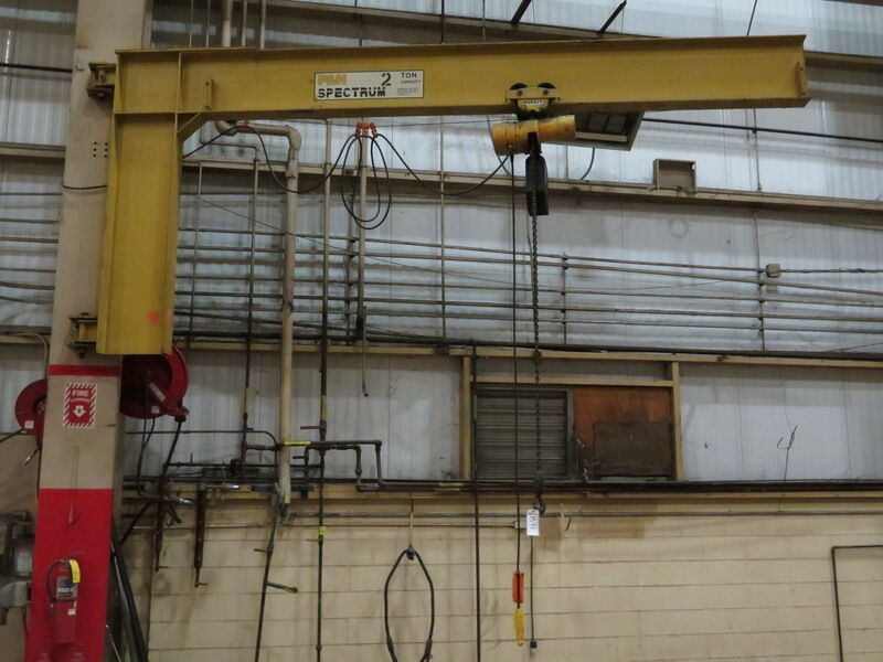 P&H 2-Ton Column Mounted Jib Crane w/2 Ton Budgit or Acco/WrightWay Chain hoist