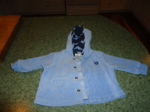 Chaps brand Baby Boy Blue Velour Snap Front Hoodie 0 - 3 months