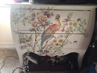 Vintage style peacock chest of drawers