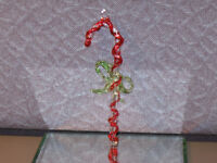 Glass Candycane Christmas Candle 4 1/2 Inches Murano? Miniature