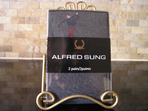 New Unused Two Pair Alfred Sung Grey Socks With Golfer Sz 10-13