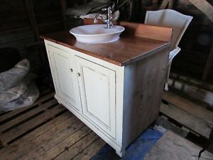 *Solid Reclaimed Pine* Bathroom Cabinet-Sink-Tap *Very Nice*