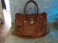 Genuine Michael kors handbag brown with gold chains and padlock