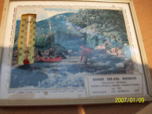 Cadre publicitaire, vintage représente pecheurs, + thermomètre