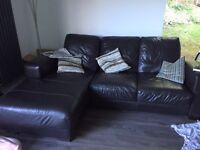 Used leather 2 piece couches with chaise long and cushions