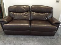 Large 2 seater brown leather sofa recliner