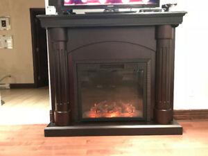 Electric Fireplace Brown Wood