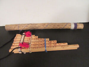 2 MUSICAL INSTRUMENTS = WOODEN RAIN MAKER & WOODEN FLUTE