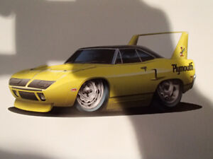 """1970 PLYMOUTH SUPERBIRD YELLOW WALL ART PICTURE 11"""" X 8.5"""""""