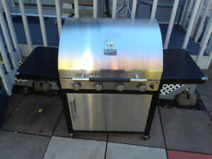 Charbroil 4 burner BBQ and cover. Stainless steel.