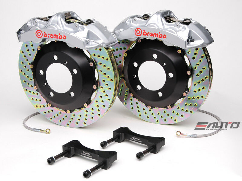 Brembo Front Gt Brake 6p Caliper Silver B355x32 Drill Disc For Sti Legacy Gt 3.6