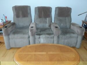 home theater recliner sofa with cupholders & arm protectors
