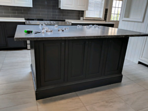 Kitchen island with hard surface top