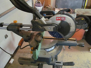"Ryobi 10"" sliding compound mitre saw with stand"