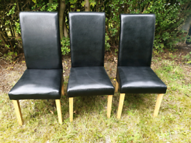 3 Black Bonded Leather Dining Chairs Oak in VGC - can deliver
