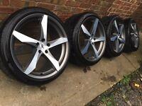 "As new 20"" Genuine AEZ Lascar Audi A6 alloy wheels +as new tyres 5x112 Mercedes E C S class"