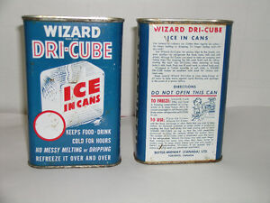 Vintage Can Dri-Cube Ice in Cans / still full of refreeze liquid