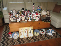 Large snowman collection, perfect for a store window