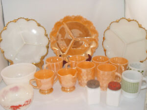 Vintage Fire King 19 Pc Dish Lot Peach Luster Davy Crockett Bowl