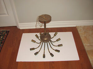 8 Vtg MCM SPUTNIK 12 ARM SPIDER ATOMIC LIGHTS Pendant Brass