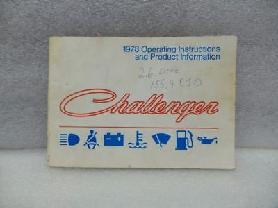 CHALLENGER 1978 Owners Manual 16527