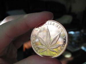 """2011 """"Legalize It"""" 1oz. Pure Copper Bullion Round!! COINS"""