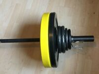 Olympic barbell and rubber bumper plates £125