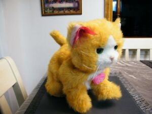 FURREAL FRIEND YELLOW CAT WITH COLLAR WORKS GREAT