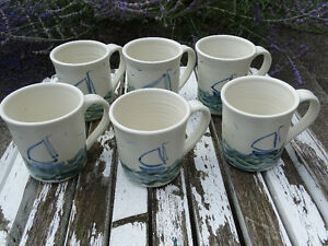 SIX (6) HAND-THROWN POTTERY MATCHING SAILBOAT MUGS