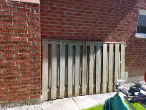 One fence panel and a bunch of scrap wood