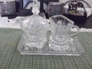 CRYSTAL CREAM AND SUGER WITH CRYSTAL PLATE