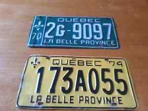 VINTAGE 1970's QUEBEC LICENSE PLATES