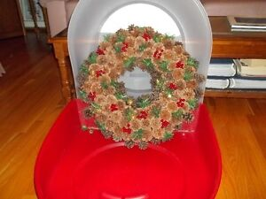 """20"""" hand made wreath with Homz storage container"""