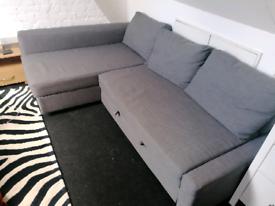 GREY IKEA FRIHETEN CORNER SOFA BED WITH STORAGE LOCAL DELIVERY