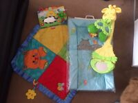 Fisher price baby mobile, baby changing mat and baby mat