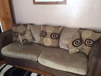 4 seater sofa and Leather chair with footstool